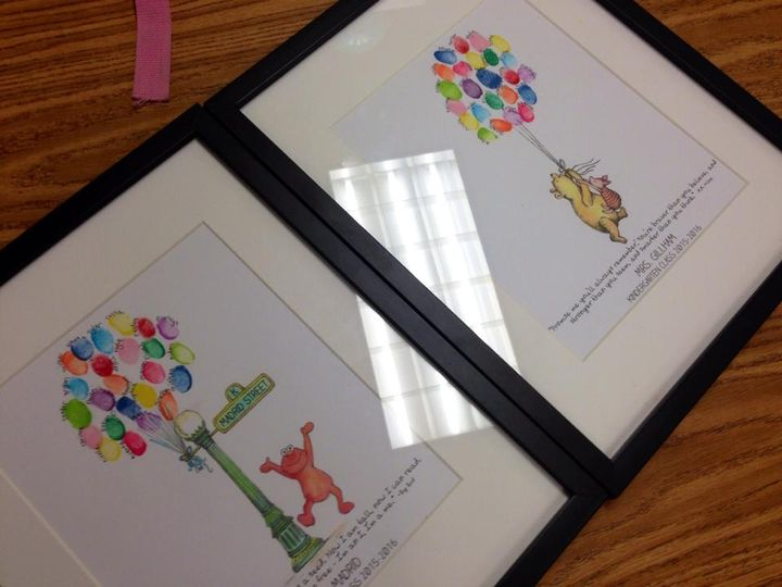 Volunteered to make the class teacher gifts... fingerprint prints are officially ready for the end of the year party! #s...