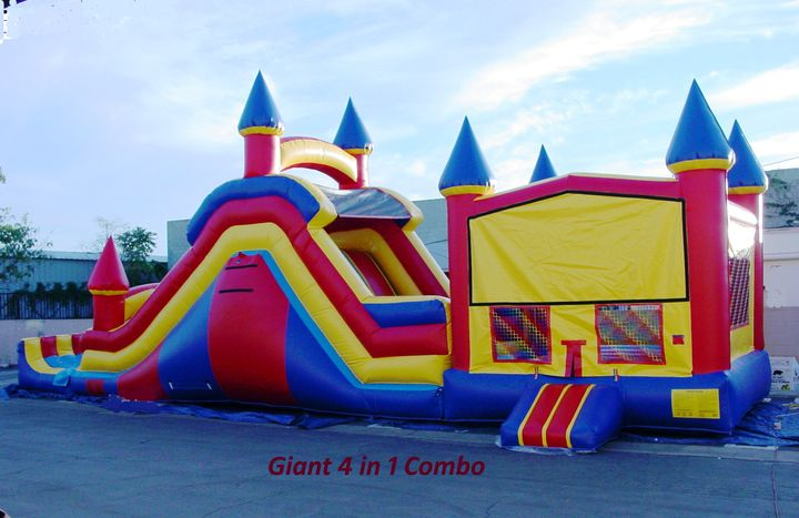 Giant 4 in 1 Combo-Jumper, Basketball Hoop, Climbing Wall and Big Slide