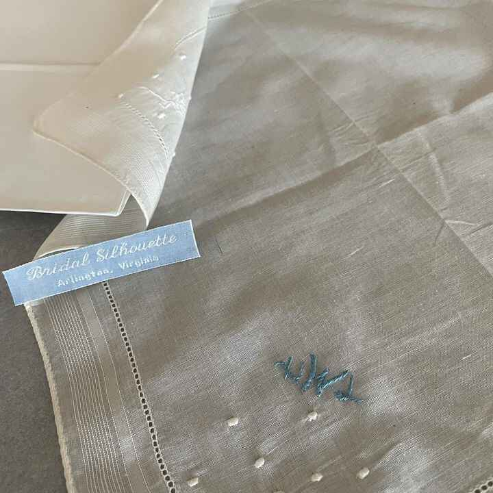 A lovely gift for the bride-to-be is a vintage hankie with her new monogram embroidered in blue. I suggest she wrap it a...