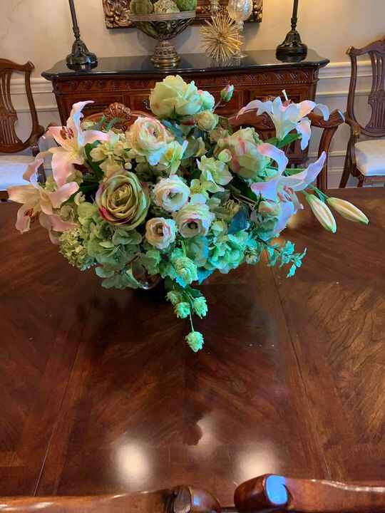 Thank you to my wonderful client for loving my silk floral designs I created for her!  Decor & More 859-361-3493