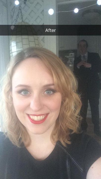 Hannah's before and after for the Barrister's Ball!  Her man in the background looking quite dapper!